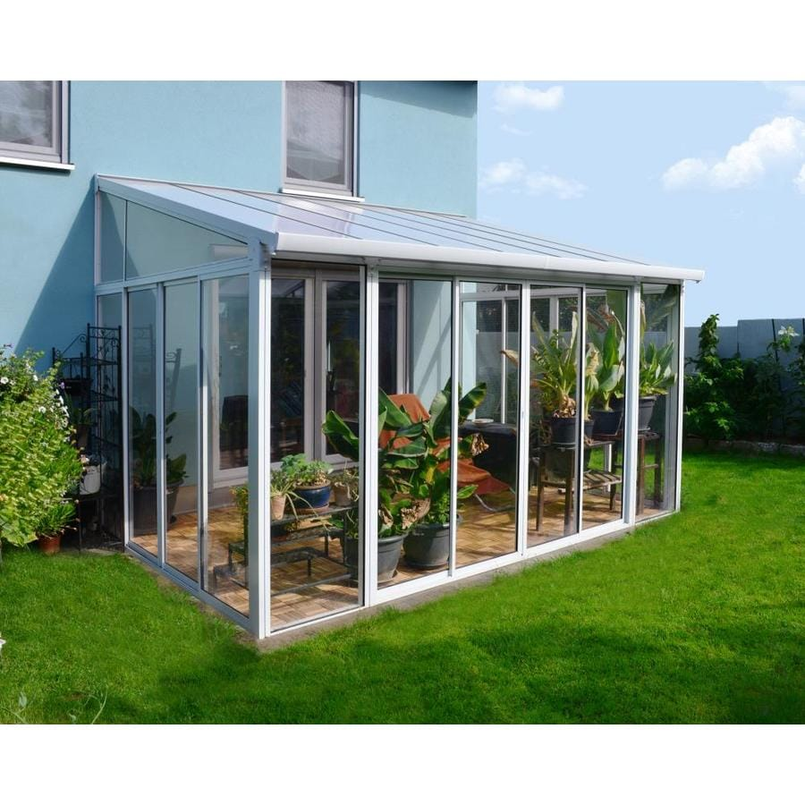 palram sanremo patio enclosure white structure white and clear panels plastic rectangle gazebo exterior 9 8 ft x 14 3 ft foundation 9 8 ft x