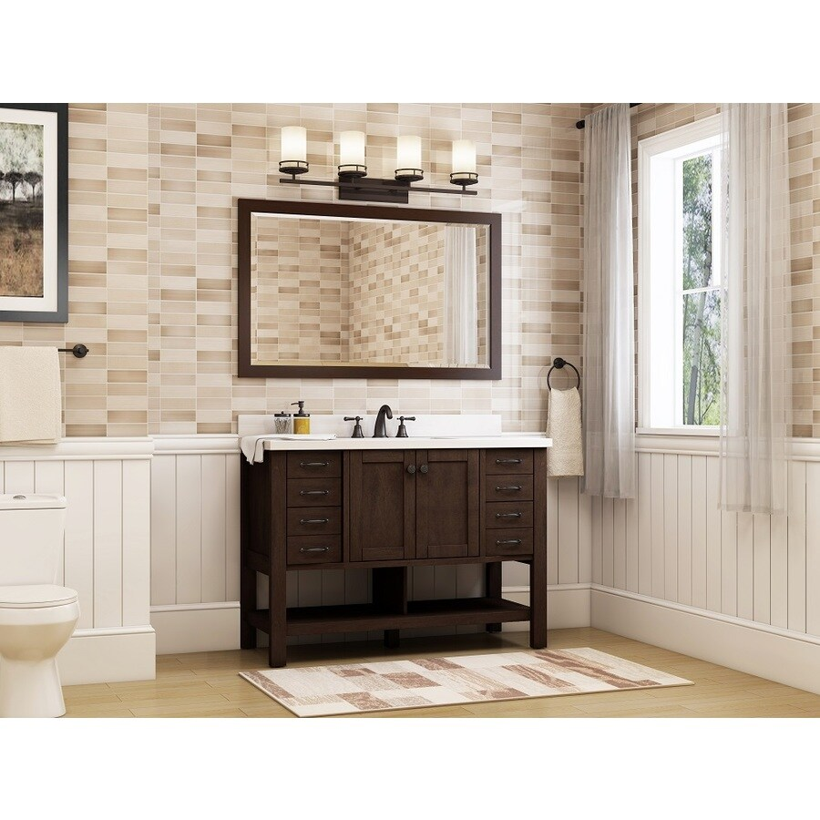 allen roth kingscote 48 in espresso single sink bathroom vanity with white engineered stone