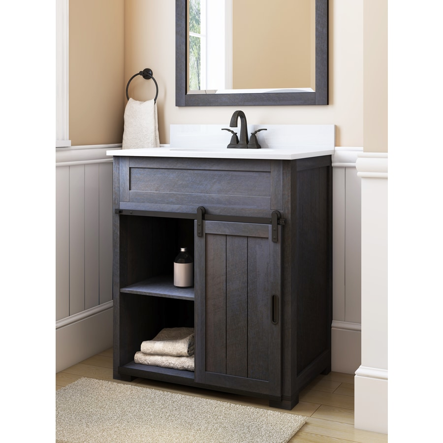 style selections morriston 30 in distressed java undermount single sink bathroom vanity with white engineered stone top