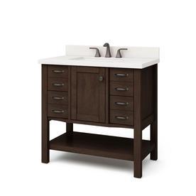 allen roth kingscote 36 in espresso single sink bathroom vanity with white engineered stone