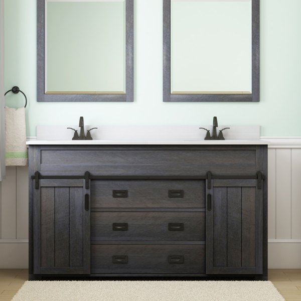 Shop Bathroom Vanities with Tops at Lowes com Style Selections Morriston Distressed Java Double Sink Vanity with White  Engineered Stone Top  Common