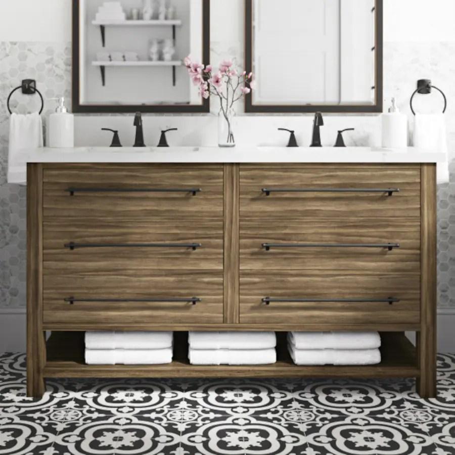 allen roth kennilton 60 in gray oak double sink bathroom vanity with carrera white engineered stone top