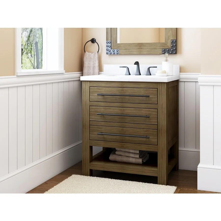 allen roth kennilton 30 in gray oak undermount single sink bathroom vanity with white carrera engineered stone top