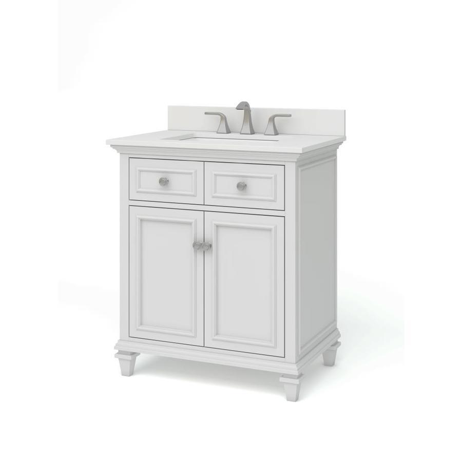 allen roth chelney 30 in white undermount single sink bathroom vanity with carrera white engineered stone top