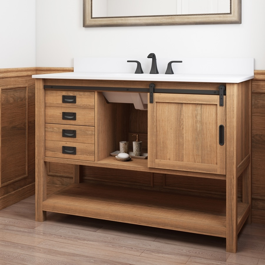 style selections 48 in brown undermount single sink bathroom vanity with white engineered stone top lowes com