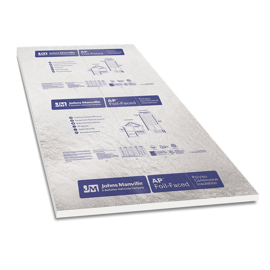 Johns Manville R 9 3 1 5 In X 4 Ft X 8 Ft Ap Foil 1 Faced Polyisocyanurate Foam Board Insulation In The Foam Board Insulation Department At Lowes Com