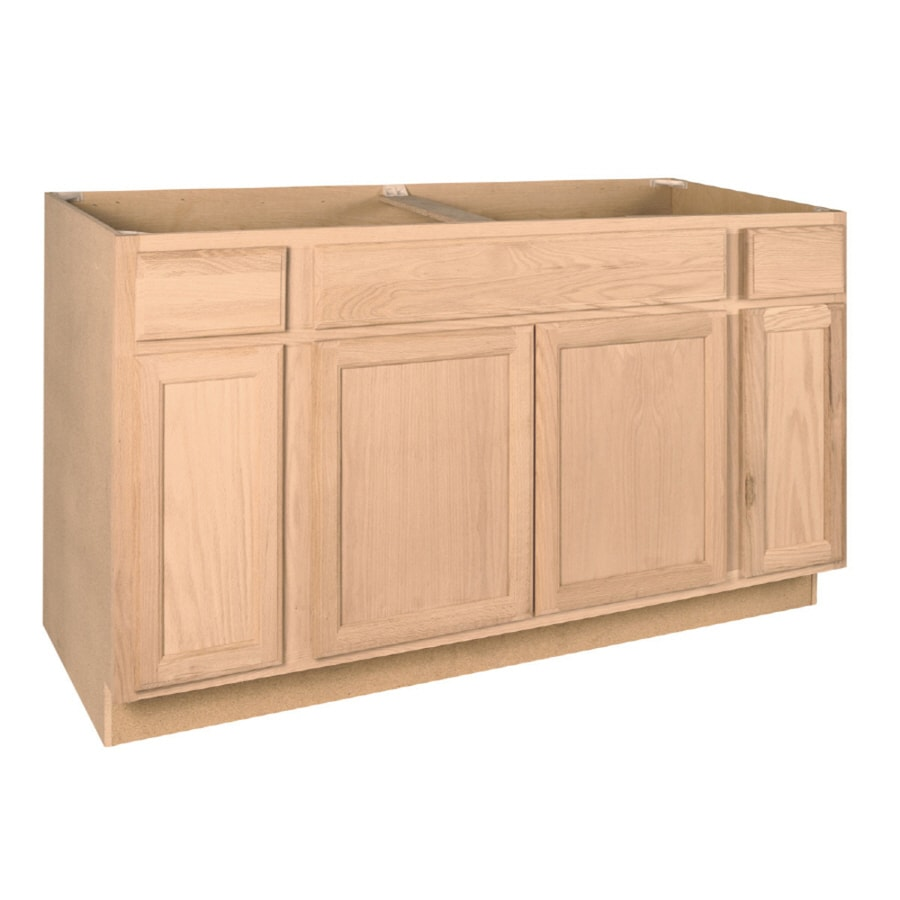 project source 60 in w x 35 in h x 23 75 in d natural unfinished oak sink base stock cabinet