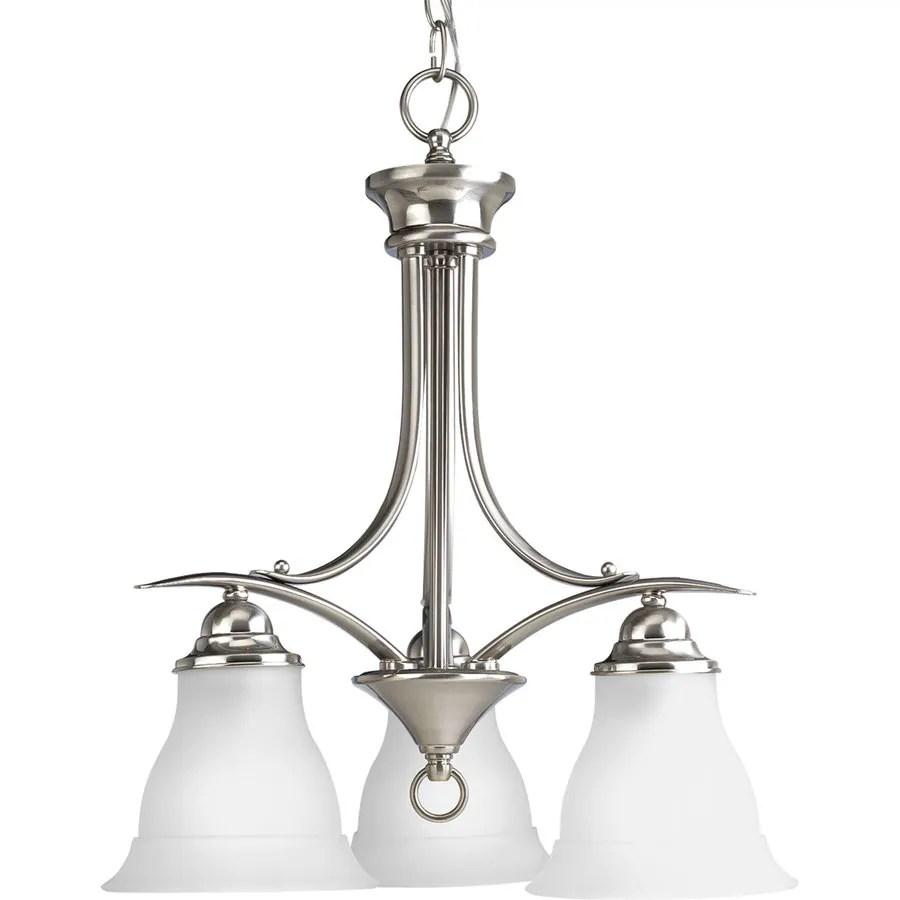 progress lighting trinity 3 light brushed nickel traditional chandelier