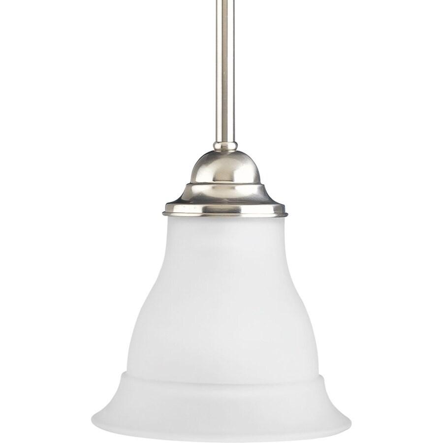progress lighting trinity brushed nickel transitional etched glass bell mini pendant light