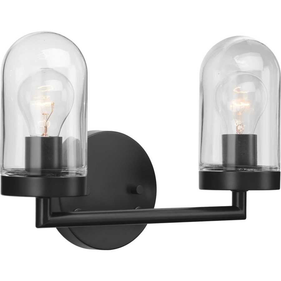 progress lighting signal 2 light black coastal vanity light