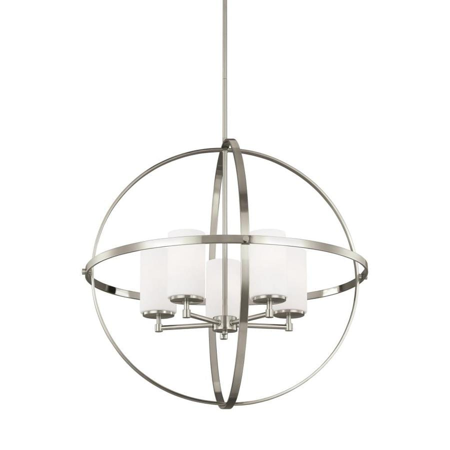 sea gull lighting alturas 5 light brushed nickel single tier chandelier with led bulbs