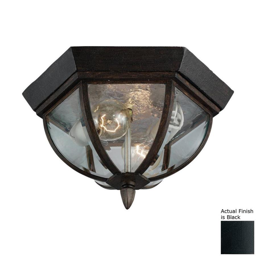 sea gull lighting ardsley court 12 75 in w black outdoor flush mount light