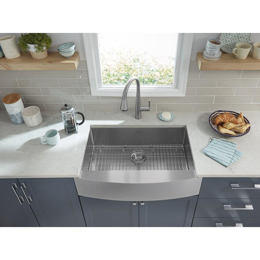 american standard suffolk farmhouse apron front 33 in x 22 in stainless steel single bowl kitchen sink with drainboard