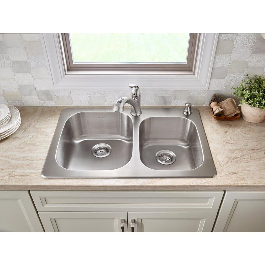 american standard sullivan drop in 33 in x 22 in stainless steel double offset bowl 2 hole kitchen sink all in one kit
