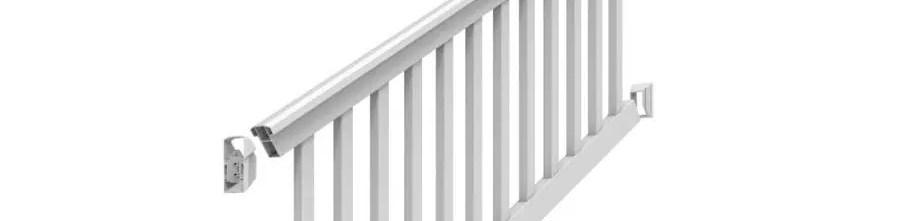 Freedom Lincoln Stair White Pvc Deck Stair Rail Kit With Balusters | Pvc Railings For Steps | 3 Step | Plastic | Corner Interior Stair | Steel Vertical Balustrade White Handrail Post | Design