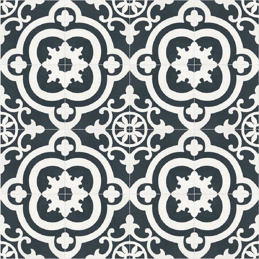 della torre cementina black and white 8 in x 8 in glazed ceramic encaustic floor and wall tile lowes com