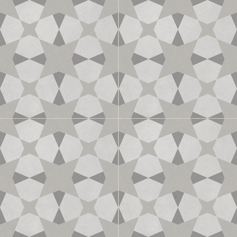 della torre avalon gray 8 in x 8 in glazed porcelain encaustic floor and wall tile lowes com