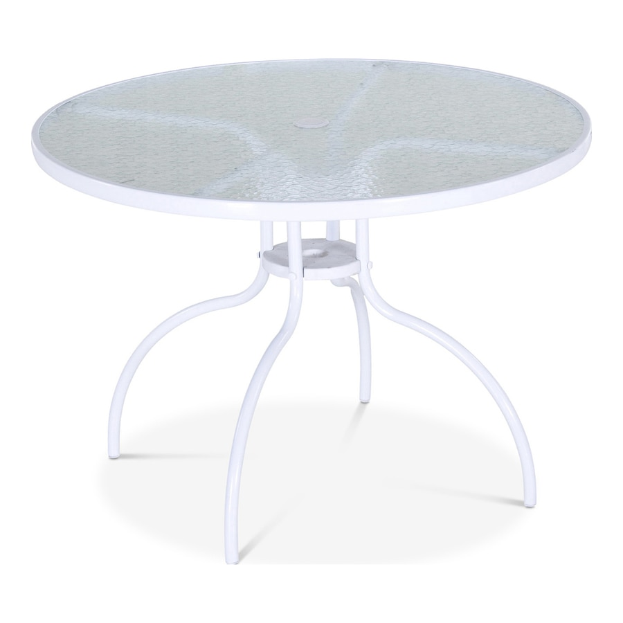 garden treasures pagosa springs round outdoor dining table 40 in w x 40 in l with umbrella hole