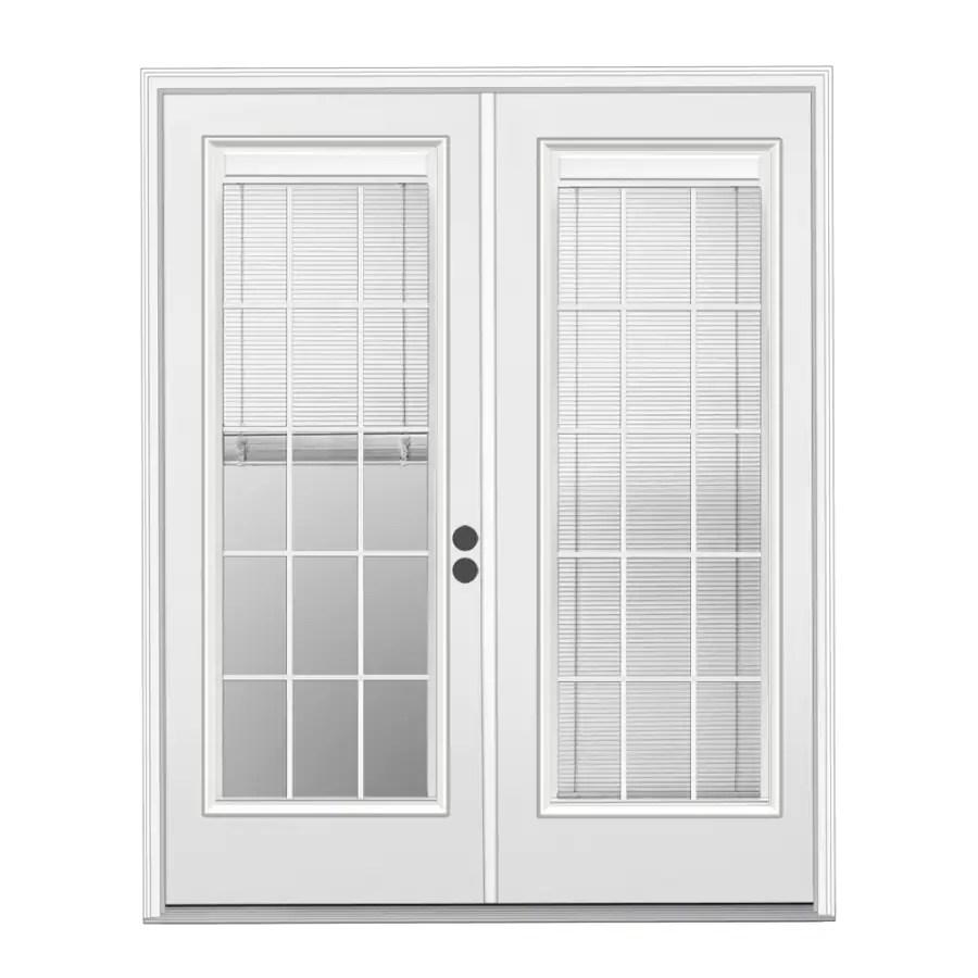 reliabilt 72 in x 80 in blinds between the glass primed steel left hand inswing double door french patio door