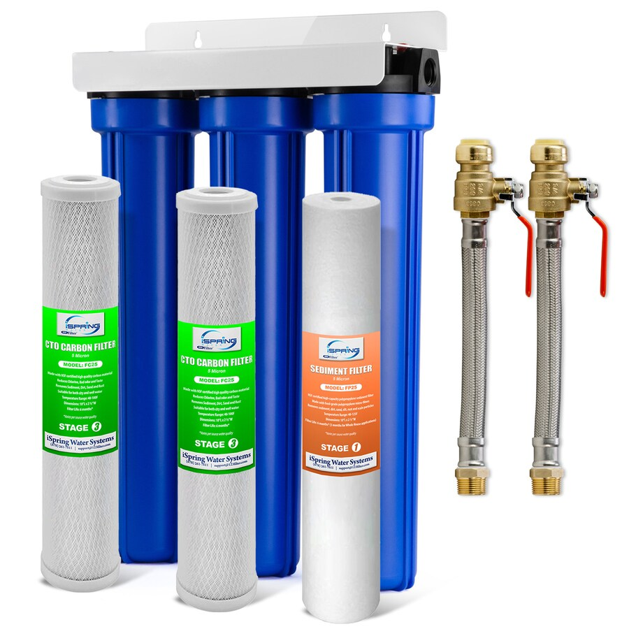 ispring whole house water filter system with ball valve triple stage 12 gpm carbon block whole house water filtration system