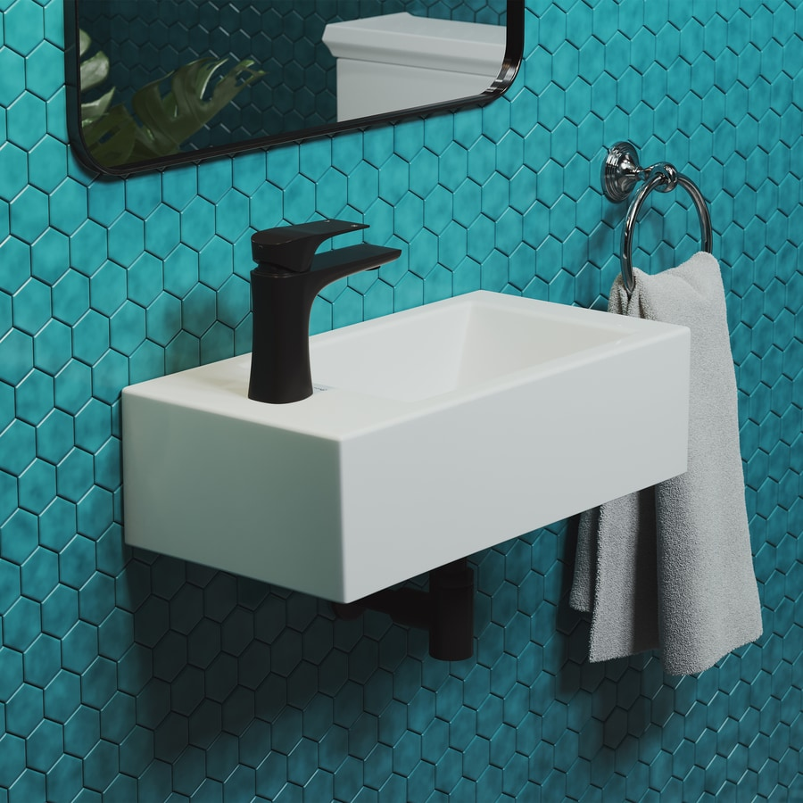 swiss madison voltaire white wall mount rectangular bathroom sink with overflow drain 10 in x 19 5 in