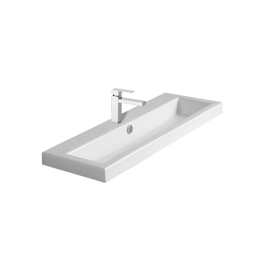 nameeks serie 40 white ceramic wall mount square trough bathroom sink with overflow drain 39 4 in x 15 7 in