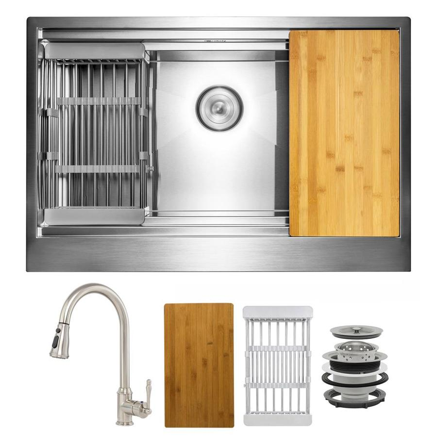 akdy all in one farmhouse apron front 30 in x 20 in brushed stainless steel single bowl workstation kitchen sink all in one kit