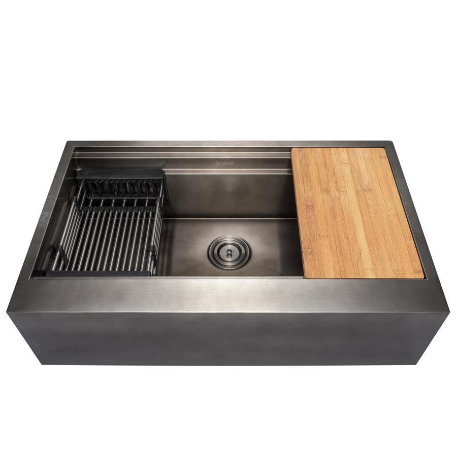 akdy ks0513 farmhouse apron front 33 in x 22 in matte black single bowl workstation kitchen sink