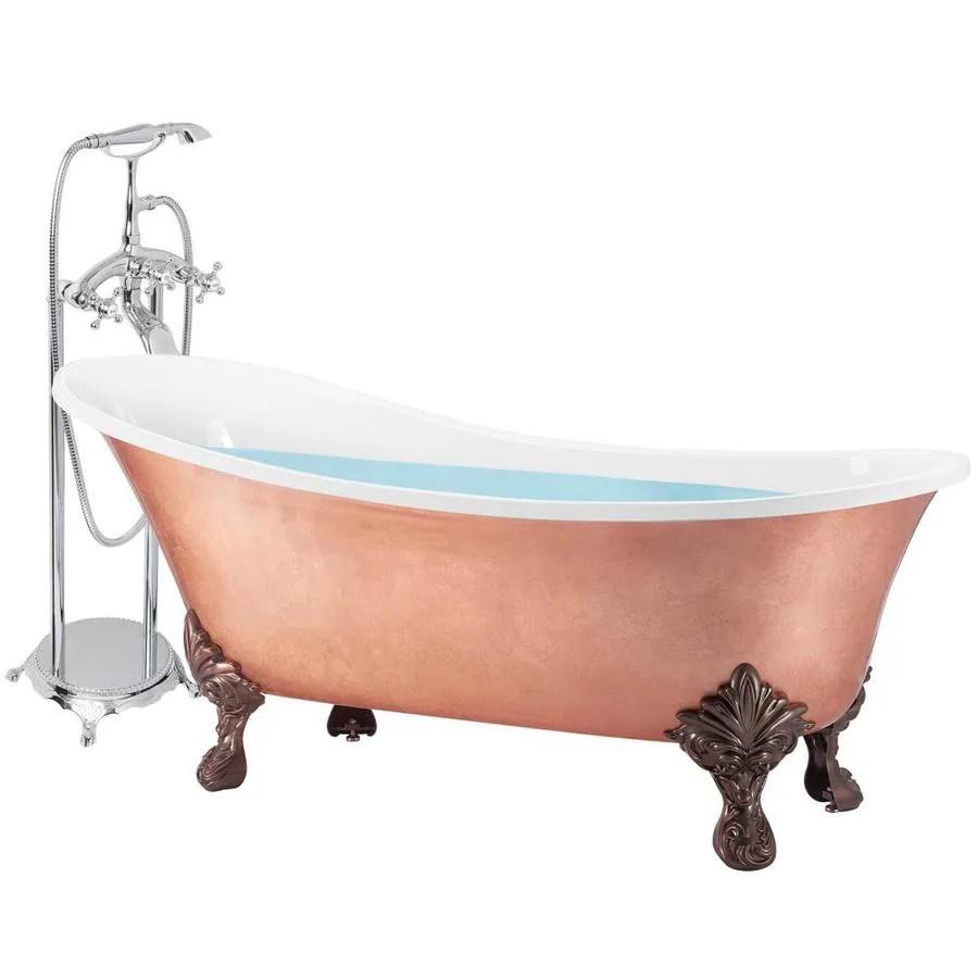 center drain clawfoot soaking bathtub