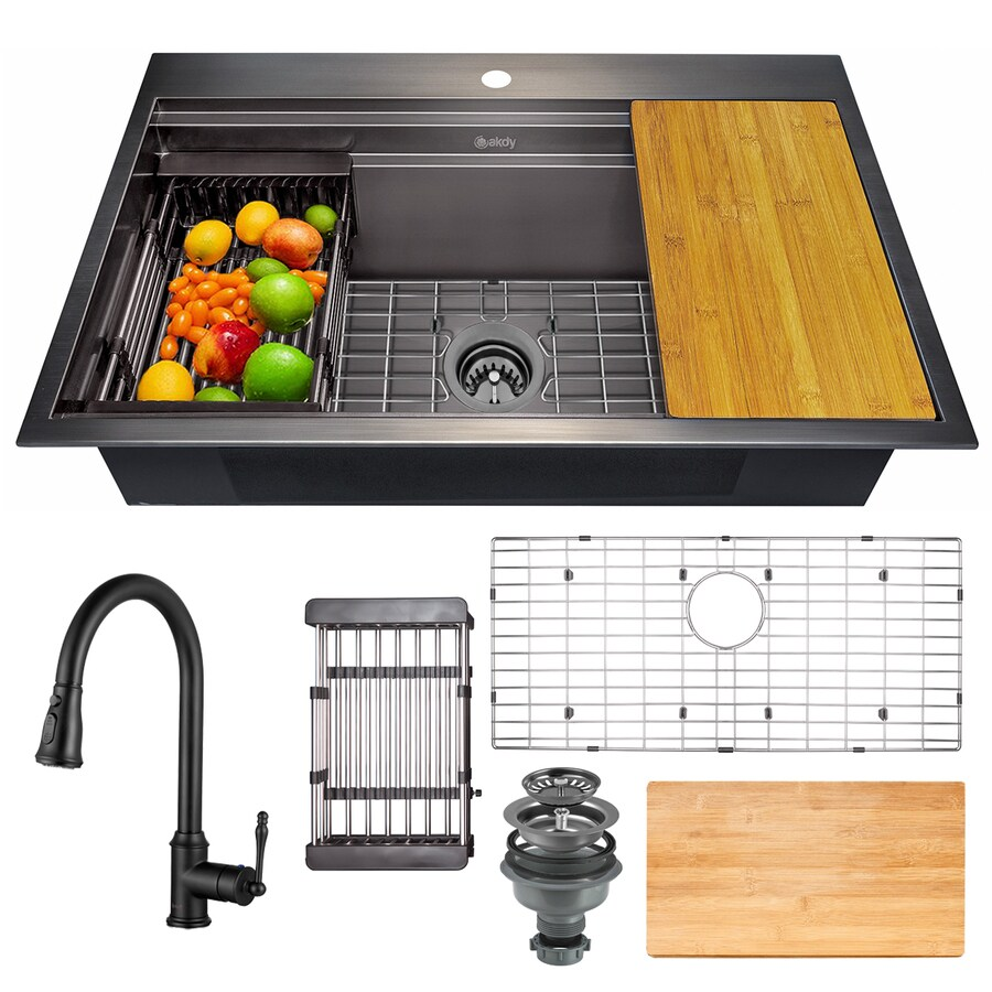 akdy all in one matte black finished stainless steel 30 in x 22 in drop in kitchen sink with pull down faucet in the kitchen sinks department at lowes com