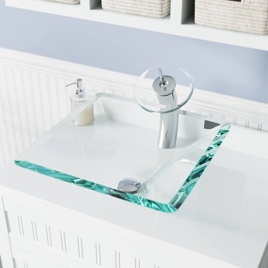 mr direct crystal tempered glass vessel square bathroom sink with faucet drain included 16 5 in x 16 5 in in the bathroom sinks department at lowes com