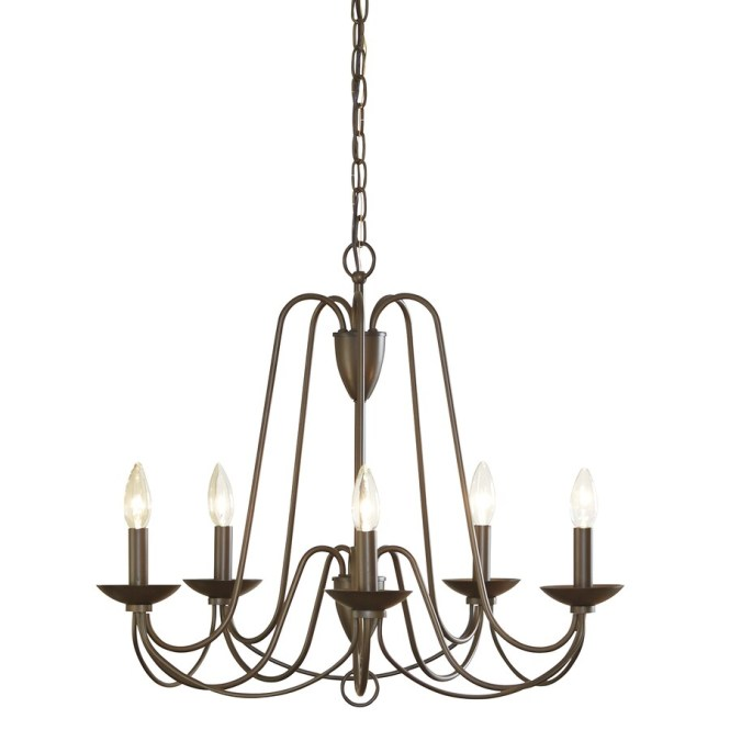Allen Roth Wintonburg 24 25 In 5 Light Aged Bronze Williamsburg Candle Chandelier