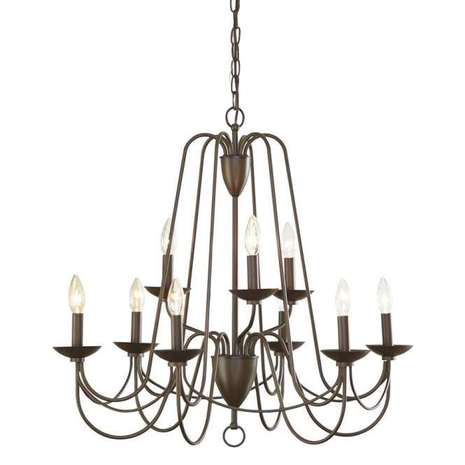 Allen Roth Wintonburg 27 95 In 9 Light Aged Bronze Williamsburg Candle Chandelier
