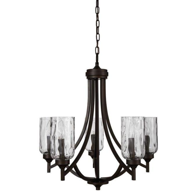 Allen Roth Latchbury 23 73 In 5 Light Craftsman Textured Glass Shaded Chandelier