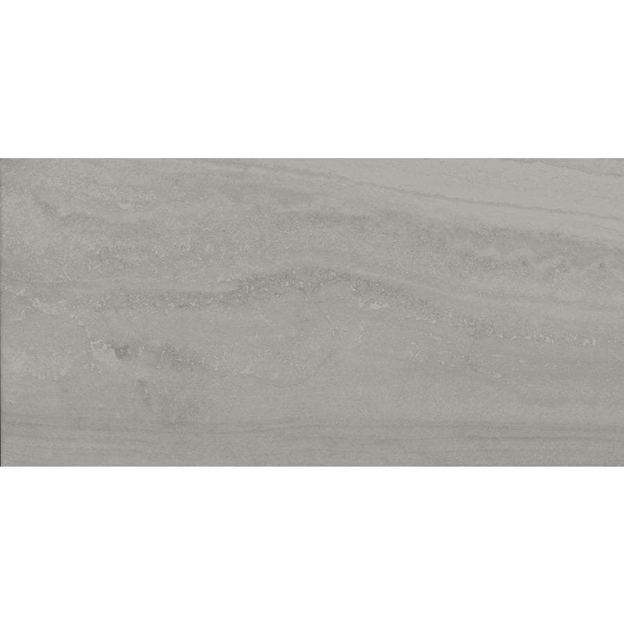 style selections ridgemont silver 12 in x 24 in glazed porcelain stone look floor and wall tile