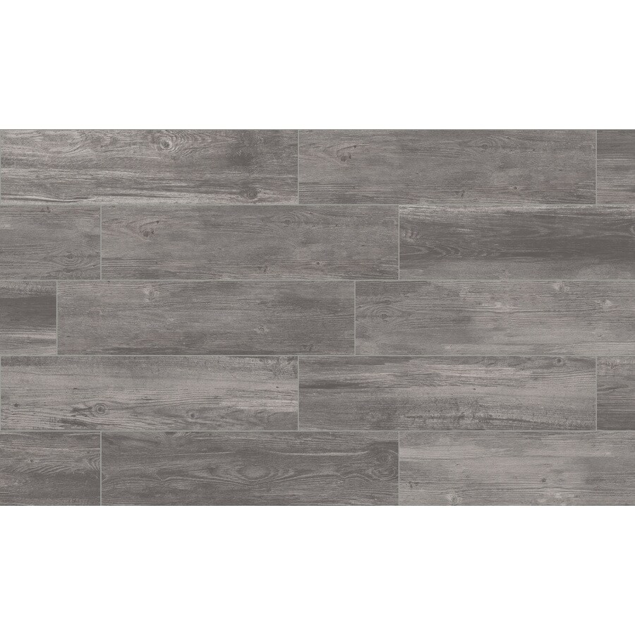 style selections woods graphite 6 in x 24 in glazed porcelain wood look floor tile lowes com