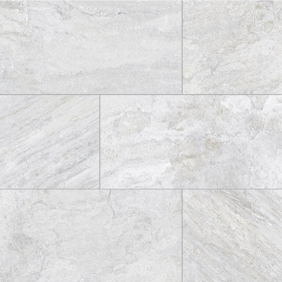 della torre riverdale 8 pack white 12 in x 24 in glazed porcelain slate stone look floor and wall tile lowes com