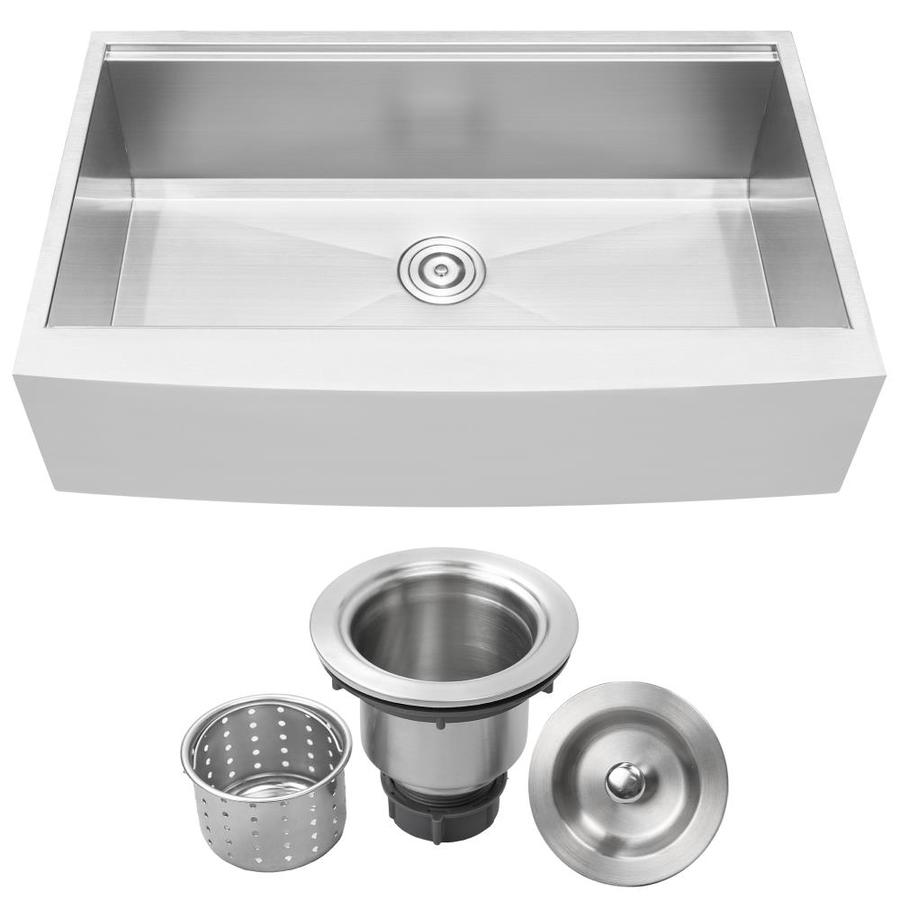 ticor farmhouse apron front 36 in x 22 25 in brushed stainless steel single bowl kitchen sink