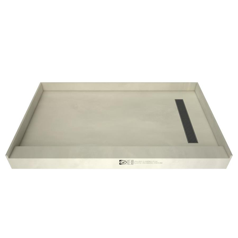 redi trench made for tile molded polyurethane shower base 48 in w x 60 in l with right drain