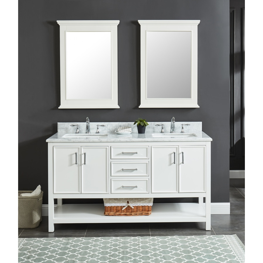 Al Roth Presnell  In Dove White Double Sink Bathroom Vanity With Carrara White Natural Marble Top