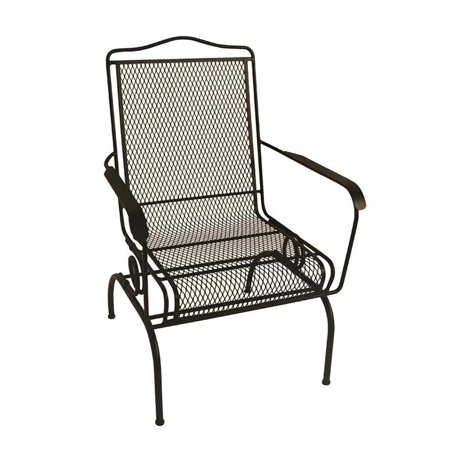 garden treasures stackable black metal frame spring motion dining chair s with mesh seat seat