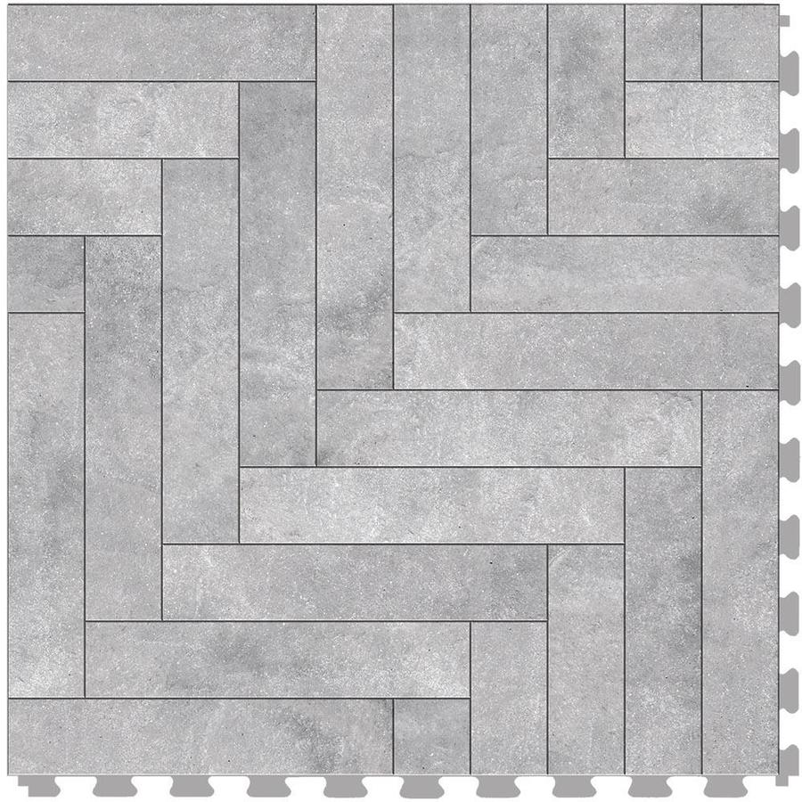 perfection floor tile master mosaic chevron graystone satin 20 in x 20 in water resistant interlocking luxury vinyl tile 16 7 sq ft lowes com