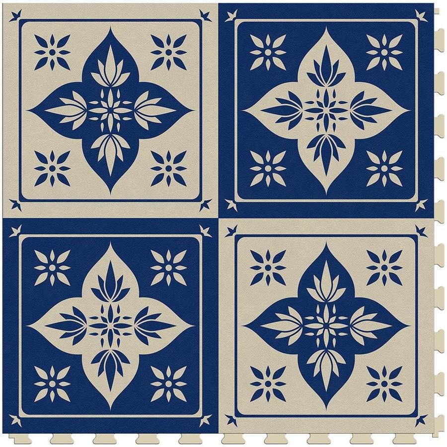 perfection floor tile geo collection blue lotus satin 20 in x 20 in water resistant interlocking luxury vinyl tile 16 7 sq ft lowes com