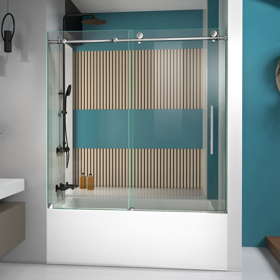 Shop DreamLine Enigma X 56 In To 59 In W Frameless Polished Stainless Steel Sliding Shower Door