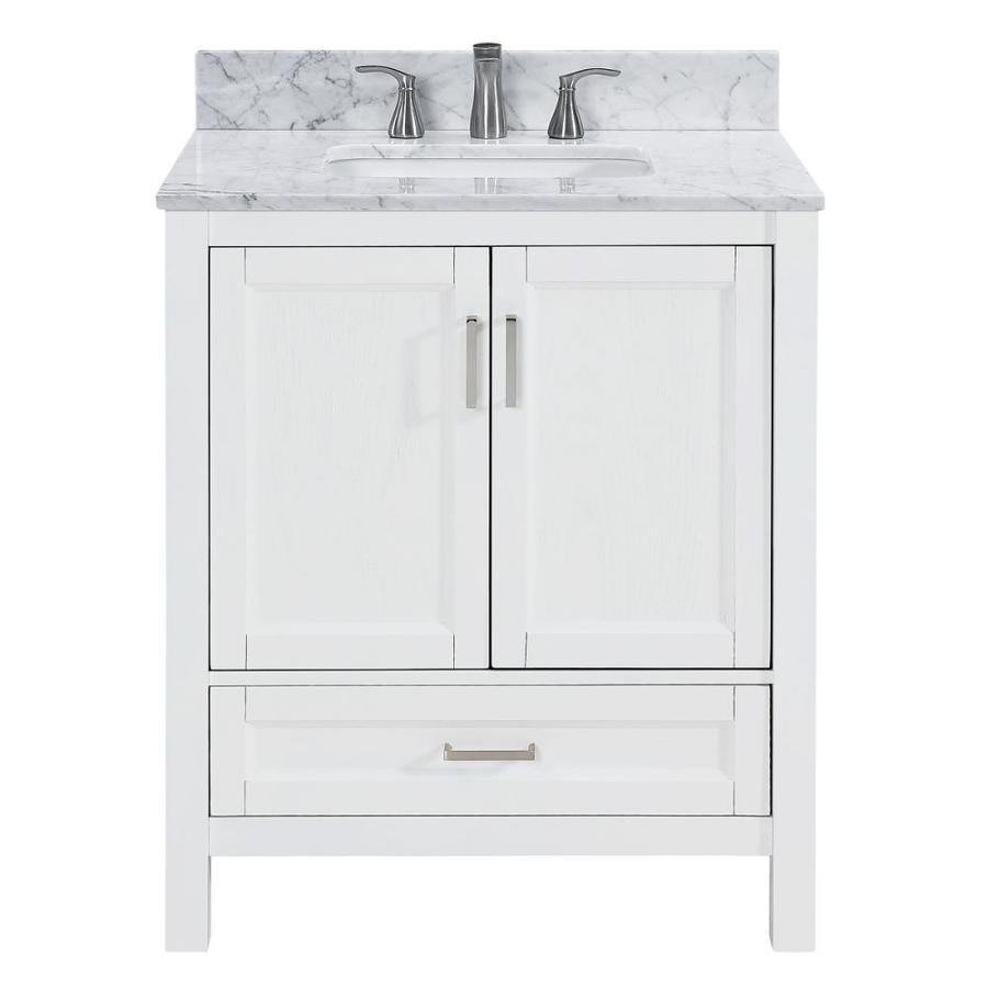 white oak single sink bathroom vanity