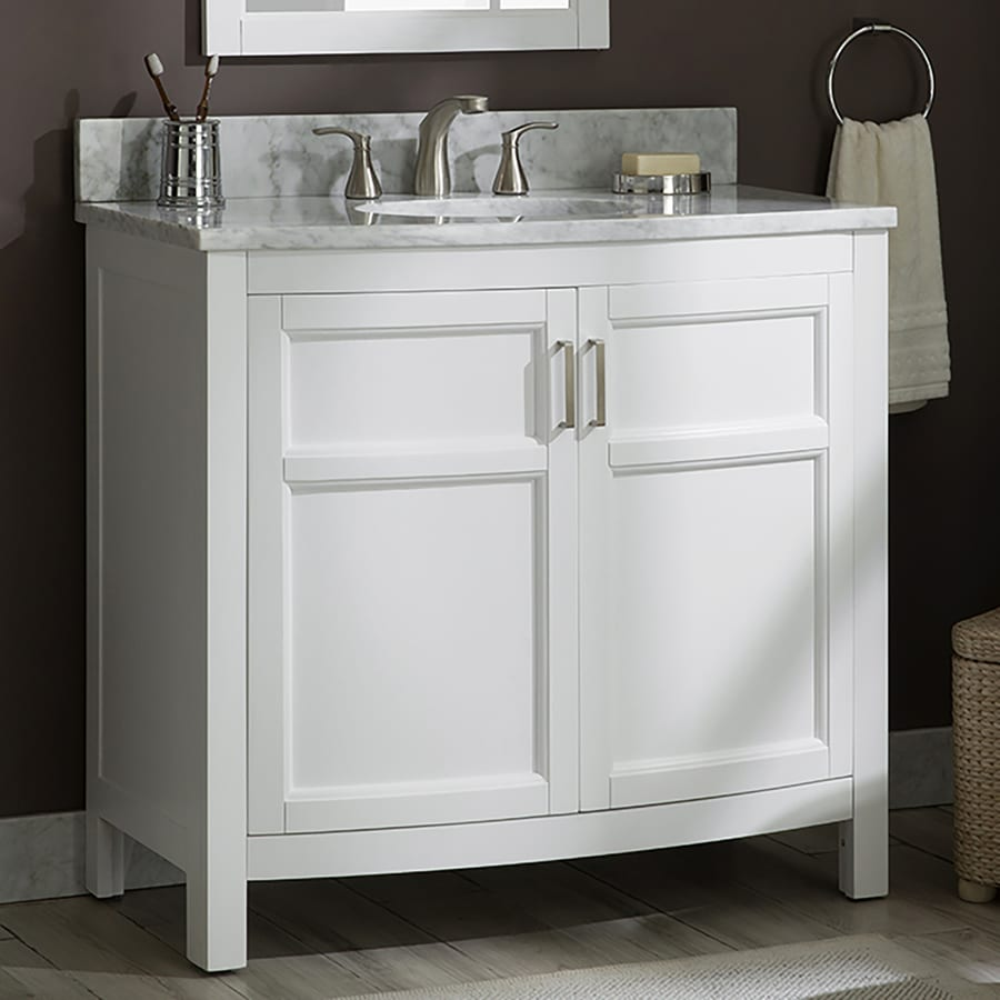 allen roth moravia 36 in white undermount single sink bathroom vanity with natural carrara marble top lowes com
