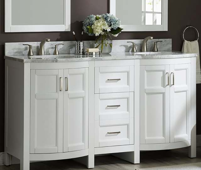 Al Roth Moravia  In White Double Sink Bathroom Vanity With Natural Carrara Marble Top