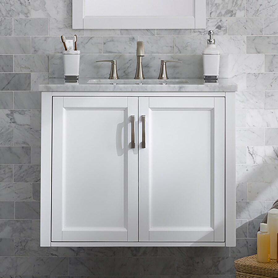 allen roth floating 30 in white undermount single sink bathroom vanity with natural carrara marble top