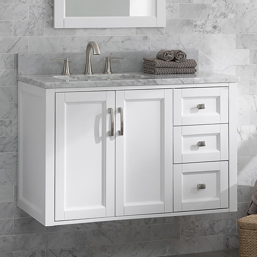 allen roth floating 36 in white undermount single sink bathroom vanity with natural carrara marble top