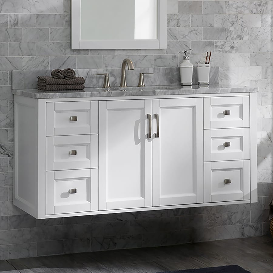 allen roth floating 48 in white undermount single sink bathroom vanity with natural carrara marble top lowes com